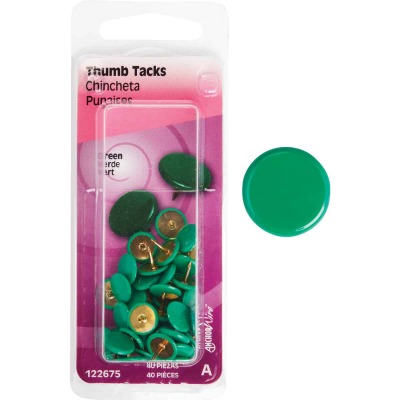 Hillman Anchor Wire Green 23/64 In. x 15/64 In. Thumb Tack (40 Ct.)