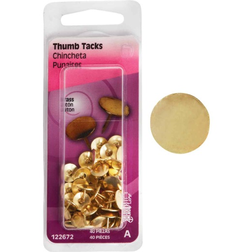 Hillman Anchor Wire Brass 23/64 In. x 15/64 In. Thumb Tack (40 Ct.)