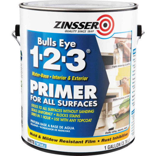 Zinsser Bulls Eye 1-2-3 Water-Base Interior/Exterior Stain Blocking Primer, White, 1 Gal.