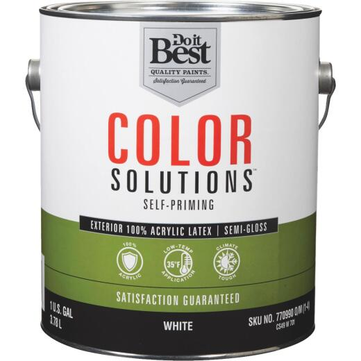 Do it Best Color Solutions 100% Acrylic Latex Self-Priming Semi-Gloss Exterior House Paint, White, 1 Gal.
