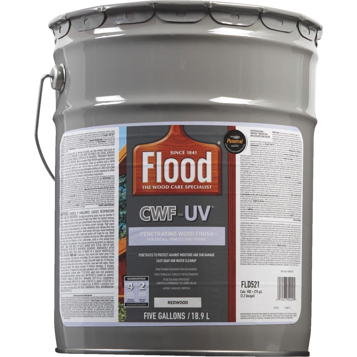 Flood CWF-UV Oil-Modified Fence Deck and Siding Wood Finish, Redwood, 5 Gal. Image 2