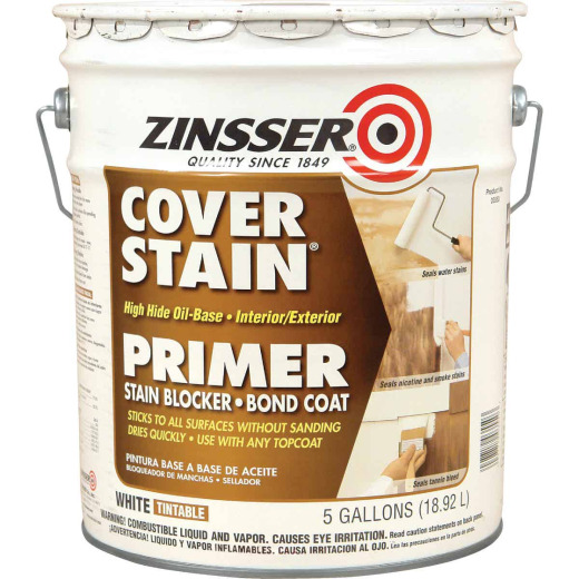 Zinsser Cover-Stain VOC High Hide Oil-Base Interior/Exterior Stain Blocker Primer, White, 5 Gal.