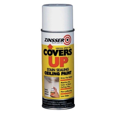 Zinsser COVERS UP Stain Sealing Spray Paint Primer, White, 13 Oz.