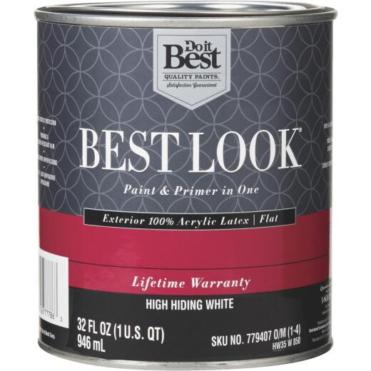 Best Look 100% Acrylic Latex Paint & Primer In One Flat Exterior House Paint, High Hiding White, 1 Qt.