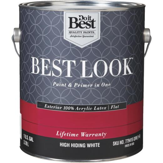 Best Look 100% Acrylic Latex Paint & Primer In One Flat Exterior House Paint, High Hiding White, 1 Gal.