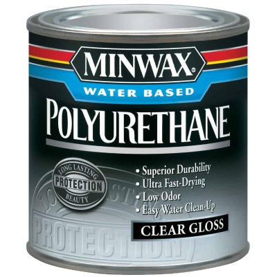 Minwax Gloss Water Based Oil-Modified Interior Polyurethane, 1/2 Pt.