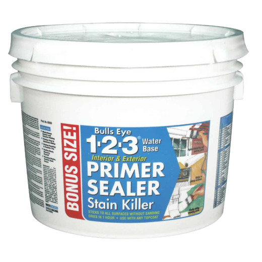 Zinsser Bulls Eye 1-2-3 Water-Base Interior/Exterior Stain Blocking Primer, White, 2.5 Gal.