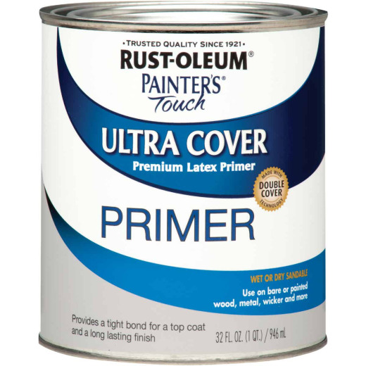 Rust-Oleum Painter's Touch Ultra Cover Latex Interior/Exterior Primer, Gray, 1 Qt.
