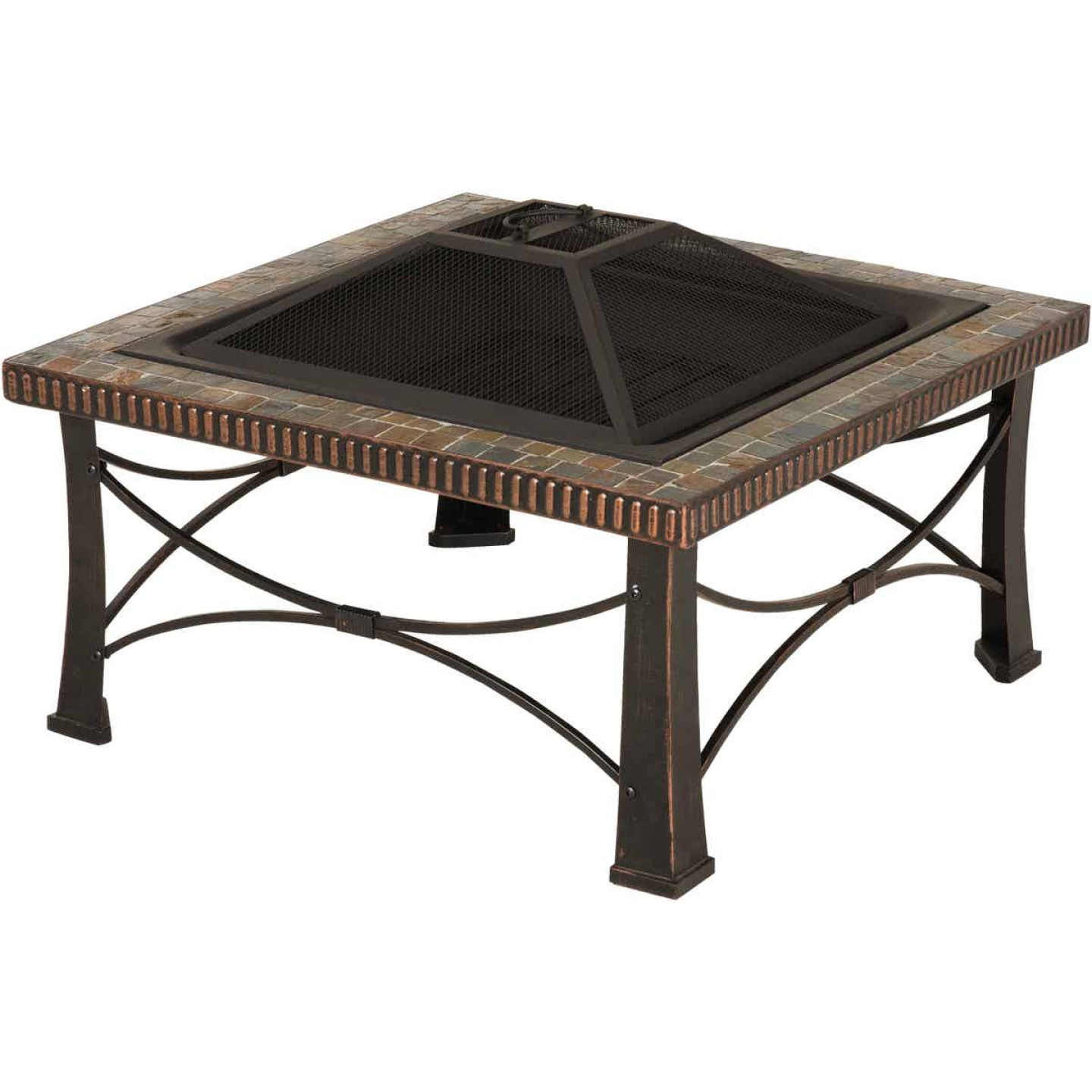 Outdoor Expressions 30 In. Slate Square Steel Fire Pit Image 1