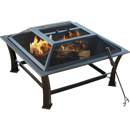 Outdoor Expressions 30 In. Antique Bronze Square Steel Fire Pit
