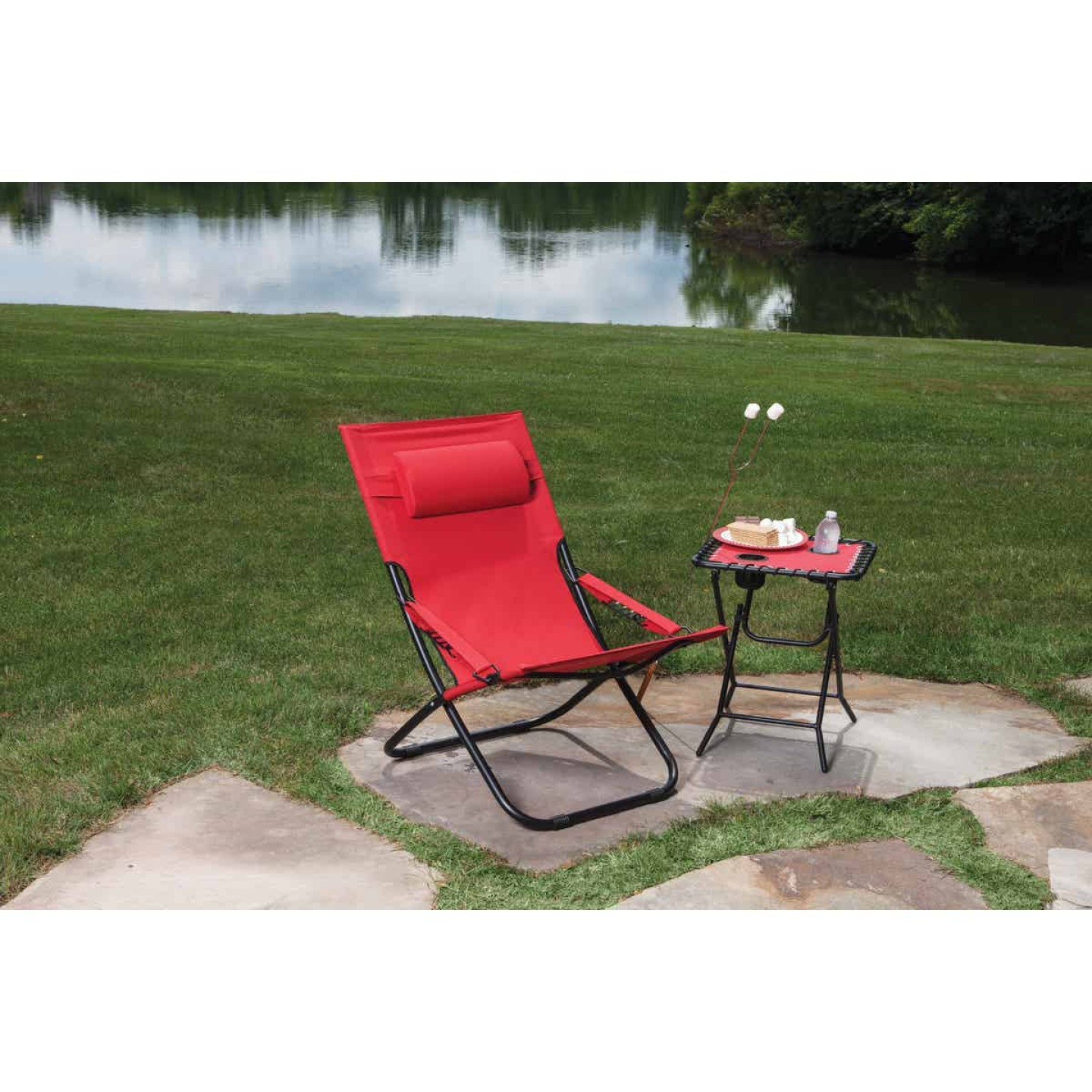 Outdoor Expressions Folding Red Hammock Chair with Headrest Image 3
