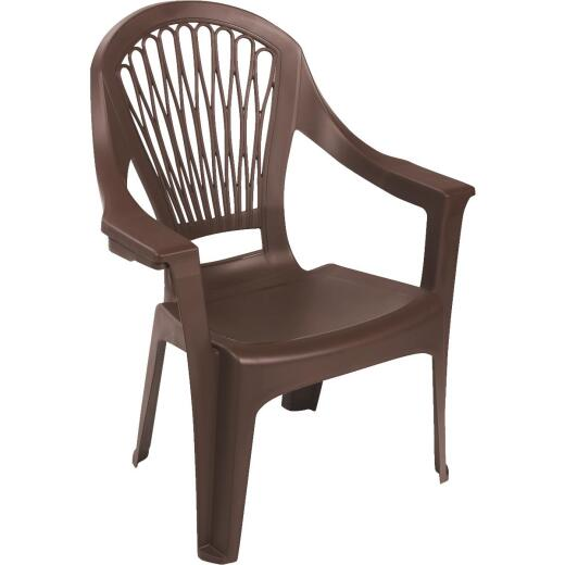 Adams Big Easy Earth Brown Resin High Back Stackable Chair