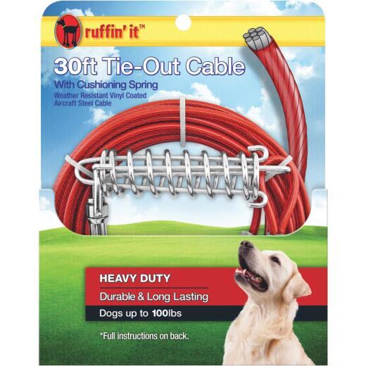 Westminster Pet Ruffin' it Heavy-Duty Large Dog Tie-Out Cable, 30 Ft.