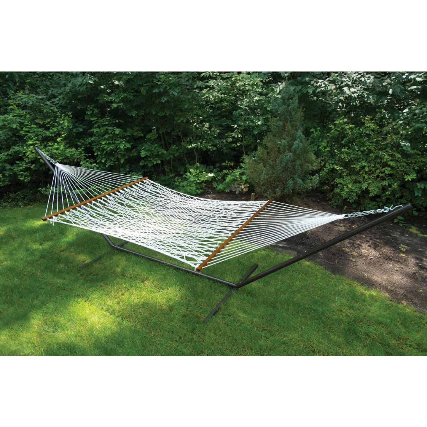 Castaway Deluxe Duracord White Poly Rope Hammock Image 2