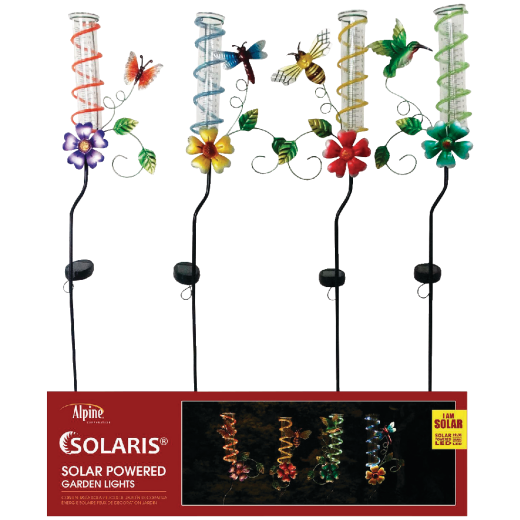 Alpine Metal & Glass 43 In. H. Solar Rain Gauge Stake Light