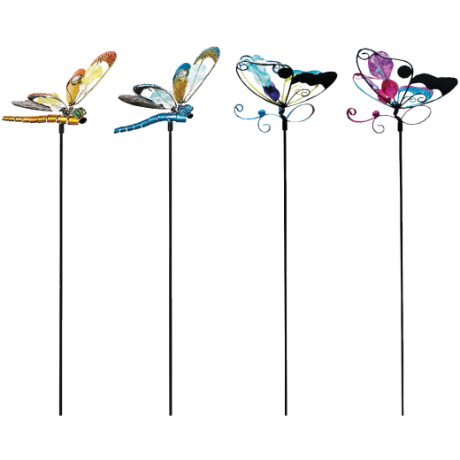Alpine 36 In. Metal & Glass Assorted Insect Garden Stake Lawn Ornament