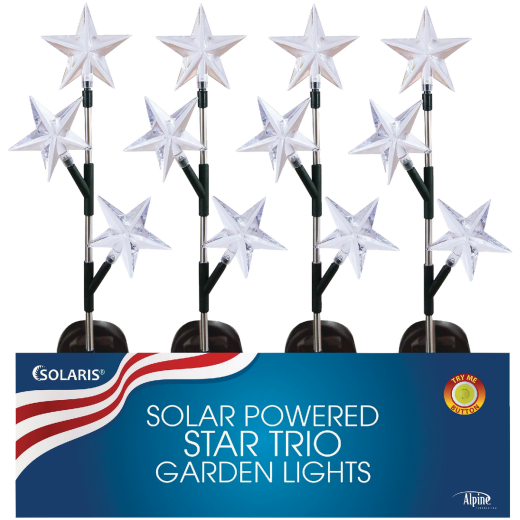 Alpine 34 In. H. Patriotic Solar Stake Light