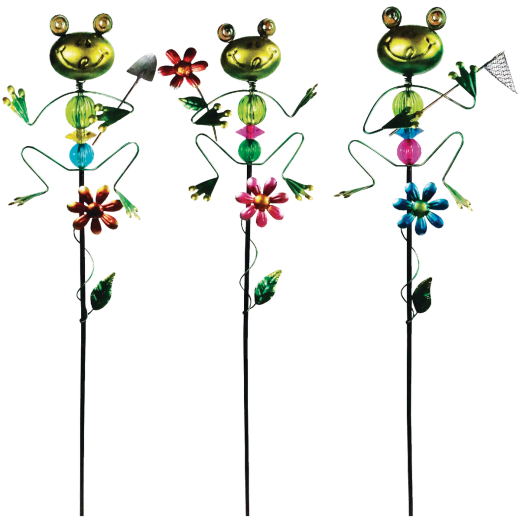Alpine 36 In. Metal Frog Garden Stake Lawn Ornament