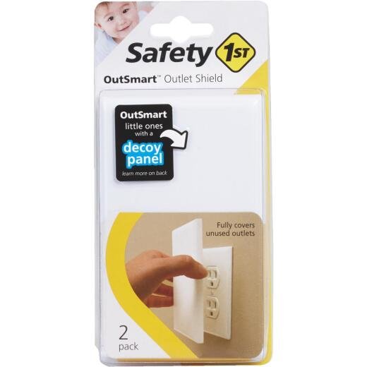 Safety 1st Outsmart Plug In White Outlet Shield (2-Pack)