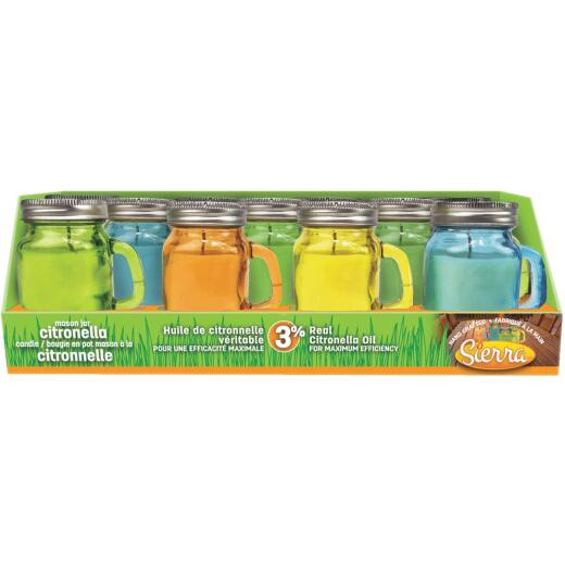 Sierra 2.8 Oz. Citronella Candle in Colored Glass Mason Jar