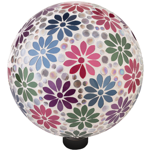 Alpine 10 In. Dia. Daisy Mosaic Glass Gazing Globe