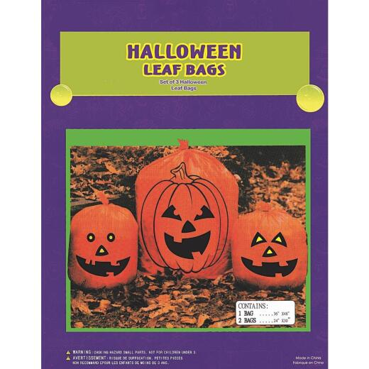 Mystic Industries Orange Plastic Pumpkin Lawn & Leaf Bag (3-Count)