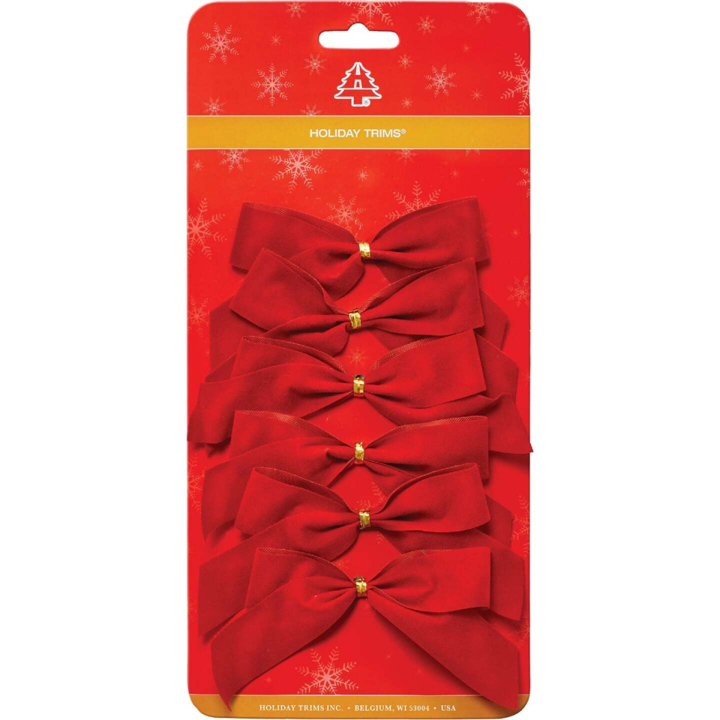 Holiday Trims 2-Loop 3-1/2 In. W. x 3-1/2 In. L. Red Velvet Christmas Bow (6-Pack) Image 1