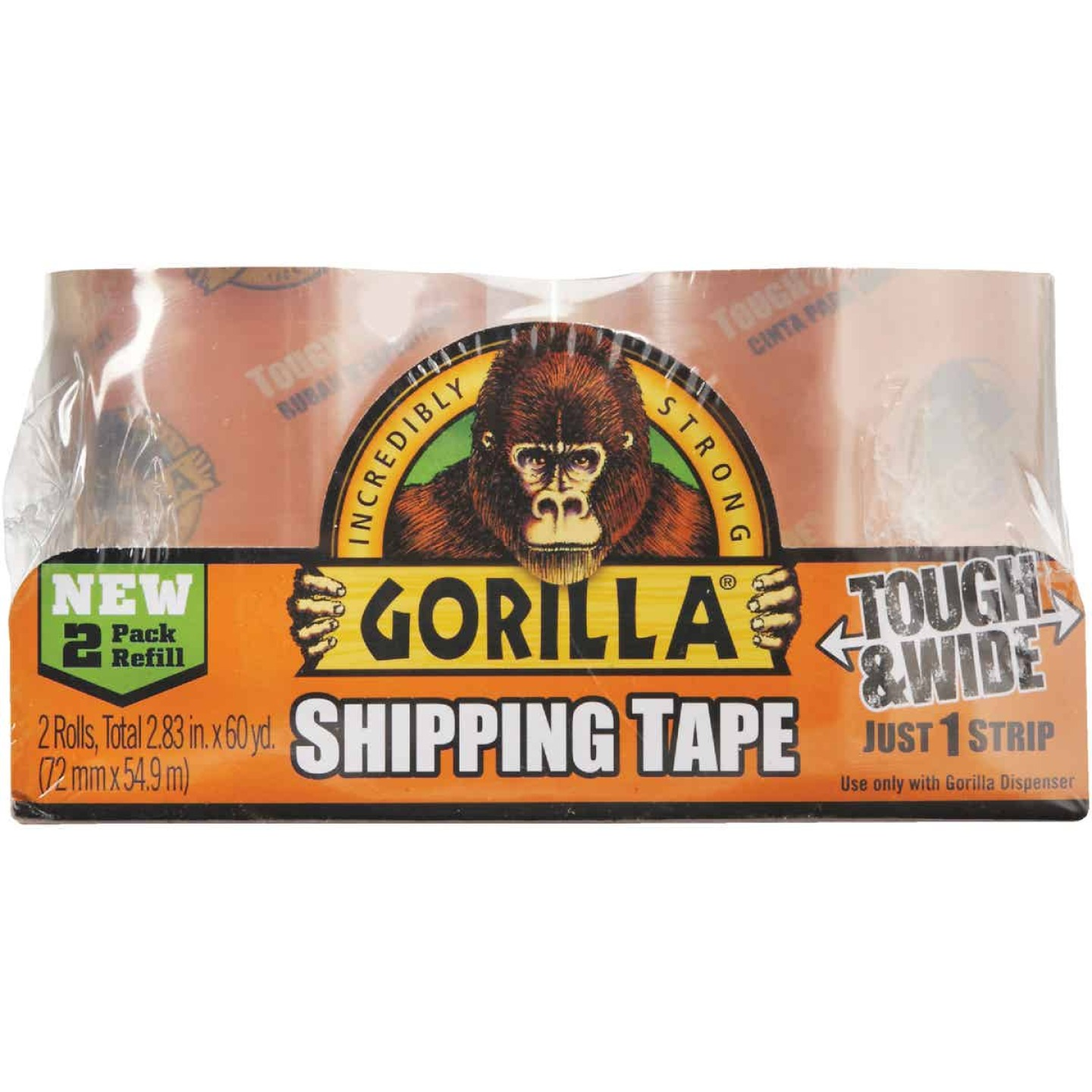 Gorilla 2.83 In. W. x 30 Yd. L. Clear Shipping Tape Refill (2-Pack) Image 2
